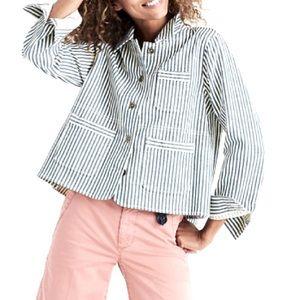 Madewell Shrunken Workwear Jacket in Poppy Stripe